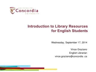 Introduction to Library Resources for English Students
