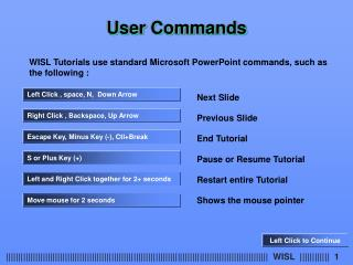 WISL Tutorials use standard Microsoft PowerPoint commands, such as  the following :