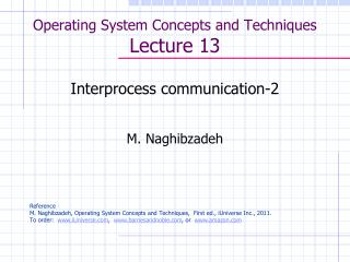 Operating System Concepts and Techniques  Lecture 13