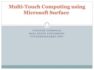 Multi-Touch  Computing using Microsoft Surface