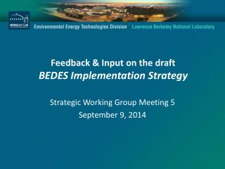 Feedback & Input on the draft BEDES Implementation Strategy