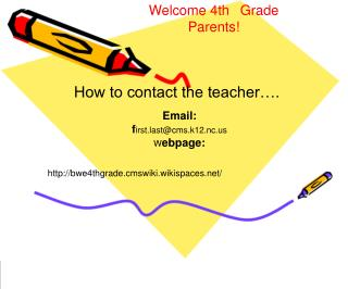 Welcome 4th ?Grade Parents!