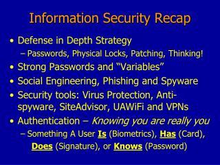 Information Security Recap