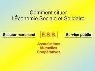 Comment situer  l'Économie Sociale et Solidaire