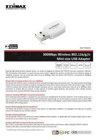 300Mbps Wireless 802.11b/g/n  Mini-size USB Adapter
