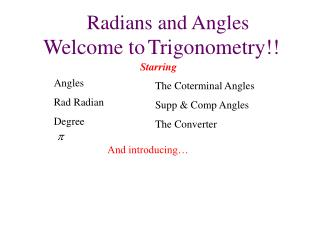 Radians and Angles