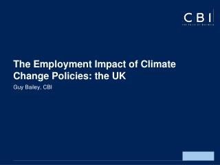 The Employment Impact of Climate Change Policies: the UK
