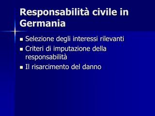 Responsabilità civile in Germania