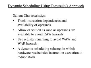 Dynamic Scheduling Using Tomasulo's Approach