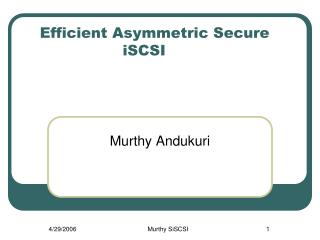 Efficient Asymmetric Secure iSCSI