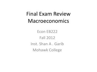 Final Exam Review Macroeconomics