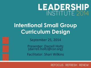 Intentional Small Group Curriculum Design