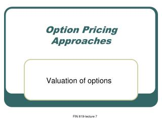 Option Pricing Approaches