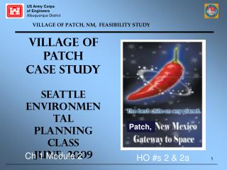 VILLAGE OF PATCH, NM,  FEASIBILITY STUDY