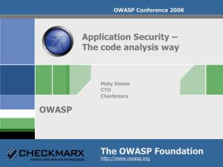 Application Security –  The code analysis way