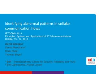 Identifying abnormal patterns in cellular communication flows