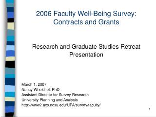 2006 Faculty Well-Being Survey: Contracts and Grants