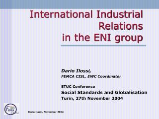 International Industrial Relations  in the ENI group