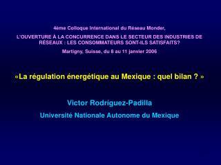 4�me Colloque International du R�seau Monder,