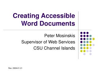 Creating Accessible Word Documents
