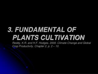 PLANTS CULTIVATION :