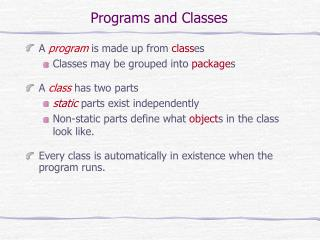 Programs and Classes