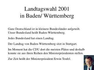 Landtagswahl 2001 in Baden/ Württemberg