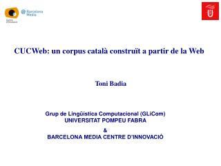 CUCWeb: un corpus català construït a partir de la Web