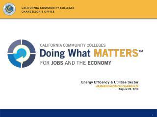 Energy  Efficency  & Utilities Sector jcaldwell@workforceincubator August 20, 2014