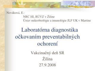 Laborat rna diagnostika ockovan m preventabiln ch ochoren
