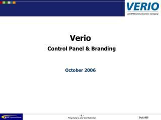Verio  Control Panel & Branding