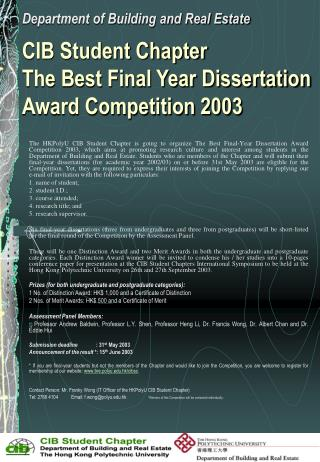 CIB Student Chapter  The Best Final Year Dissertation Award Competition 2003
