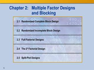 Chapter 2:   Multiple Factor Designs  and Blocking