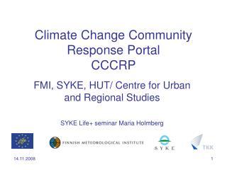 Climate Change Community Response Portal CCCRP