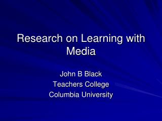 Research on Learning with Media