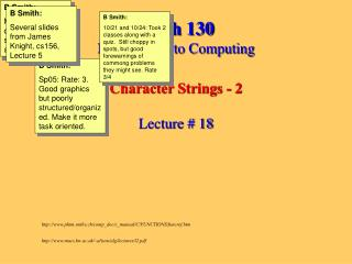 Math 130 Introduction to Computing Character Strings - 2 Lecture # 18