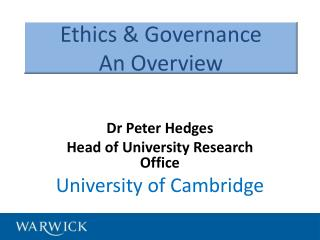 Ethics  & Governance An Overview