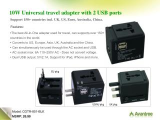10W Universal travel adapter with 2 USB ports