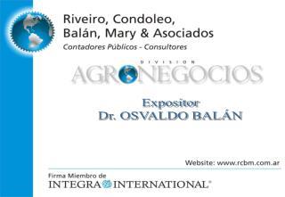 Expositor Dr. OSVALDO BALÁN