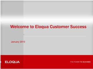 Welcome to Eloqua Customer Success