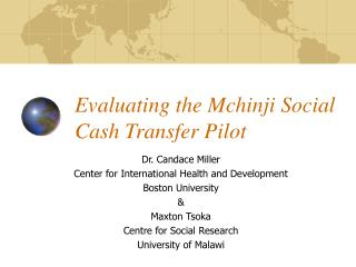 Evaluating the Mchinji Social Cash Transfer Pilot