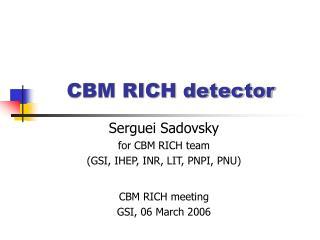 CBM RICH detector