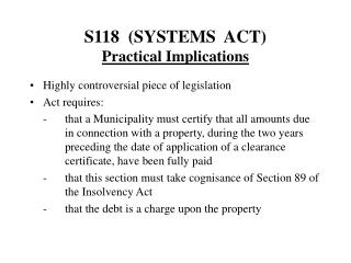 S118  (SYSTEMS  ACT) Practical Implications