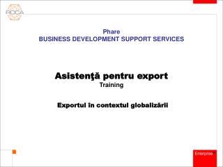 Asistenţă pentru export Training Exportul în contextul globalizării