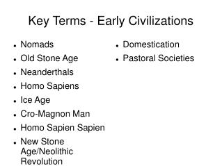 Key Terms - Early Civilizations