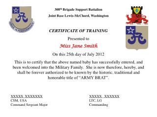 308 th  Brigade Support Battalion Joint Base Lewis-McChord, Washington CERTIFICATE OF TRAINING