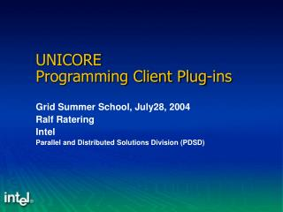 UNICORE Programming Client Plug-ins