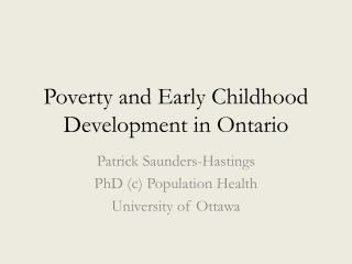 Poverty and Early Childhood Development in Ontario