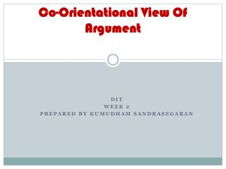 Co- Orientational View Of Argument