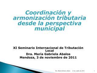 Coordinación y armonización tributaria desde la perspectiva municipal
